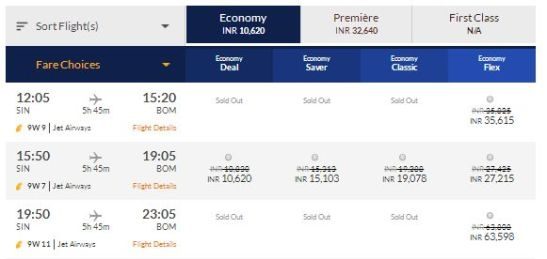Snippets from Jet Airways website